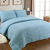 YaYi Solid Quilt Sets with Shams Reversible Soft 100% Cotton Quilted Bedspread and Coverlet Sets King Size(106''x98'') 3 Piece Bedding Collection Hypoallergenic All-season Blue