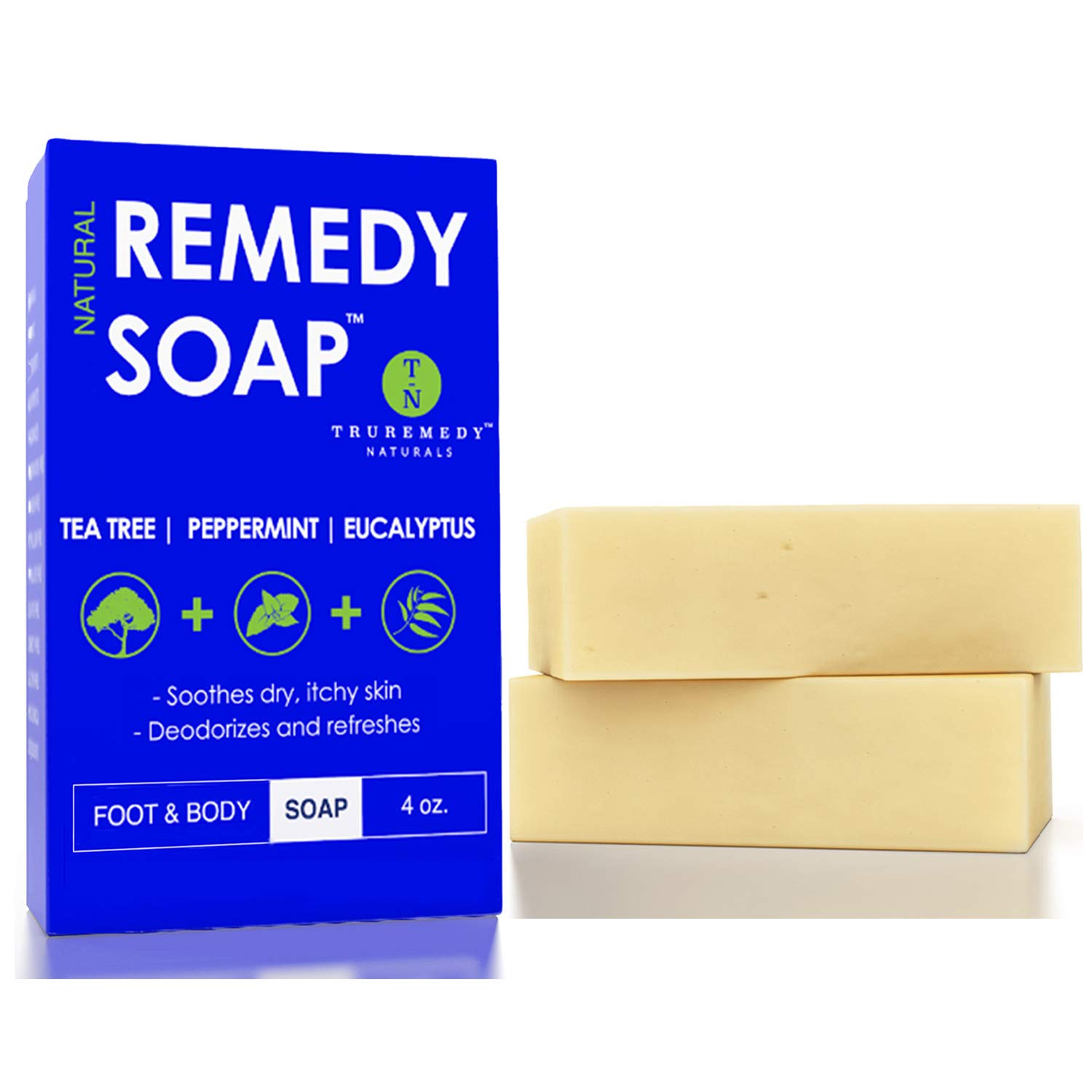 Remedy Natural Tea Tree Oil Soap Bar for Men/Women (Pack of 2) – w/Peppermint & Eucalyptus - Face & Body Soap for Acne, Body Odor, Skin Irritations & All Skin Types by Truremedy Naturals