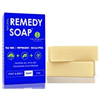 Remedy Natural Tea Tree Oil Soap Bar for Men/Women (Pack of 2) – w/Peppermint &...
