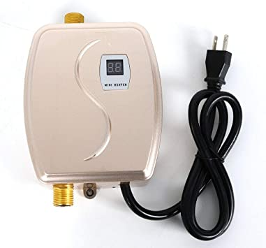 Tankless Hot Water Heater System 110v 3000w Mini Instant Electric Water Heater Portable Wall Floor Mount Water Heater Shower Lcd Digital Display Leakage Protection 35 45 Usa Stock Gold Amazon Com
