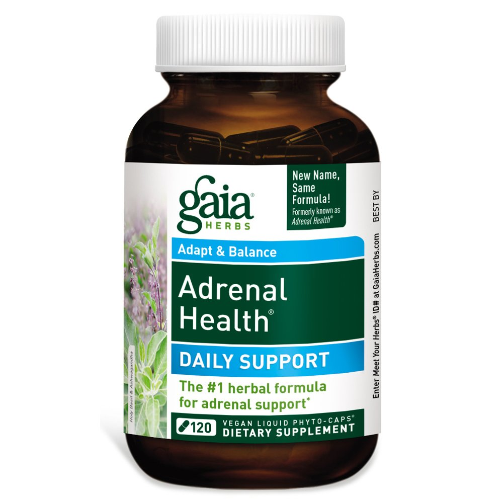 Gaia Herbs Adrenal Health Daily Support, Vegan Liquid Capsules, 120 Count - Stress Relief, Anxiety Relief and Adrenal Fatigue Supplement, Ashwagandha, Rhodiola, Holy Basil Adrenal Complex