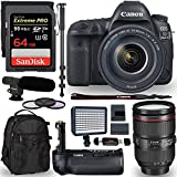 Canon EOS 5D Mark IV Full Frame Digital SLR Camera with EF 24-105mm f/4L IS II USM Lens Kit, Sandisk 64GB, Polaroid 160 LED Video Light, Microphone, Backpack and Accessory Bundle