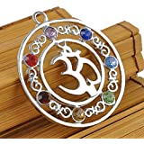 Natural Gemstone Reiki Chakra Healing Moon Beads Silver Pendant FOR Necklace LOVE STORY (Crystal OM Symbol)