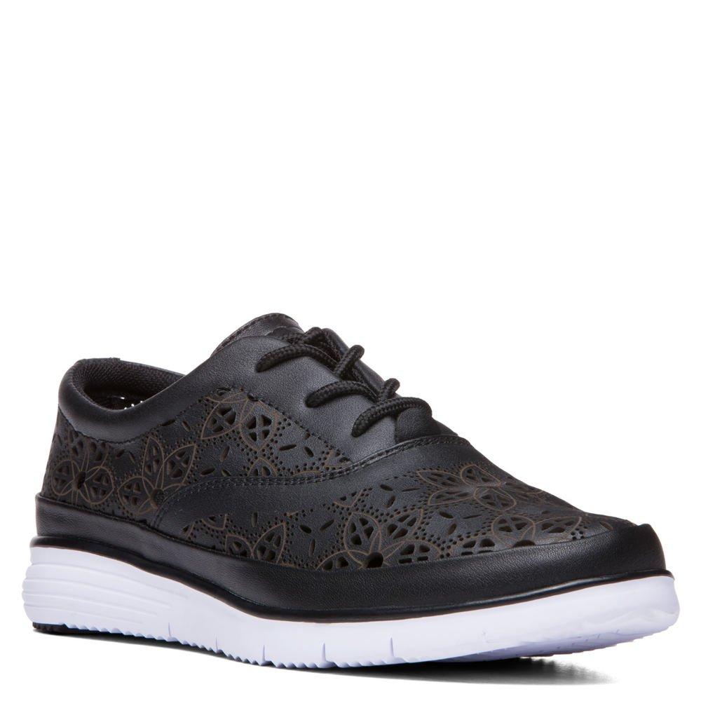 Propet Women's Harper Fashion Sneakers, Black Leather, EVA, 10 X-Wide