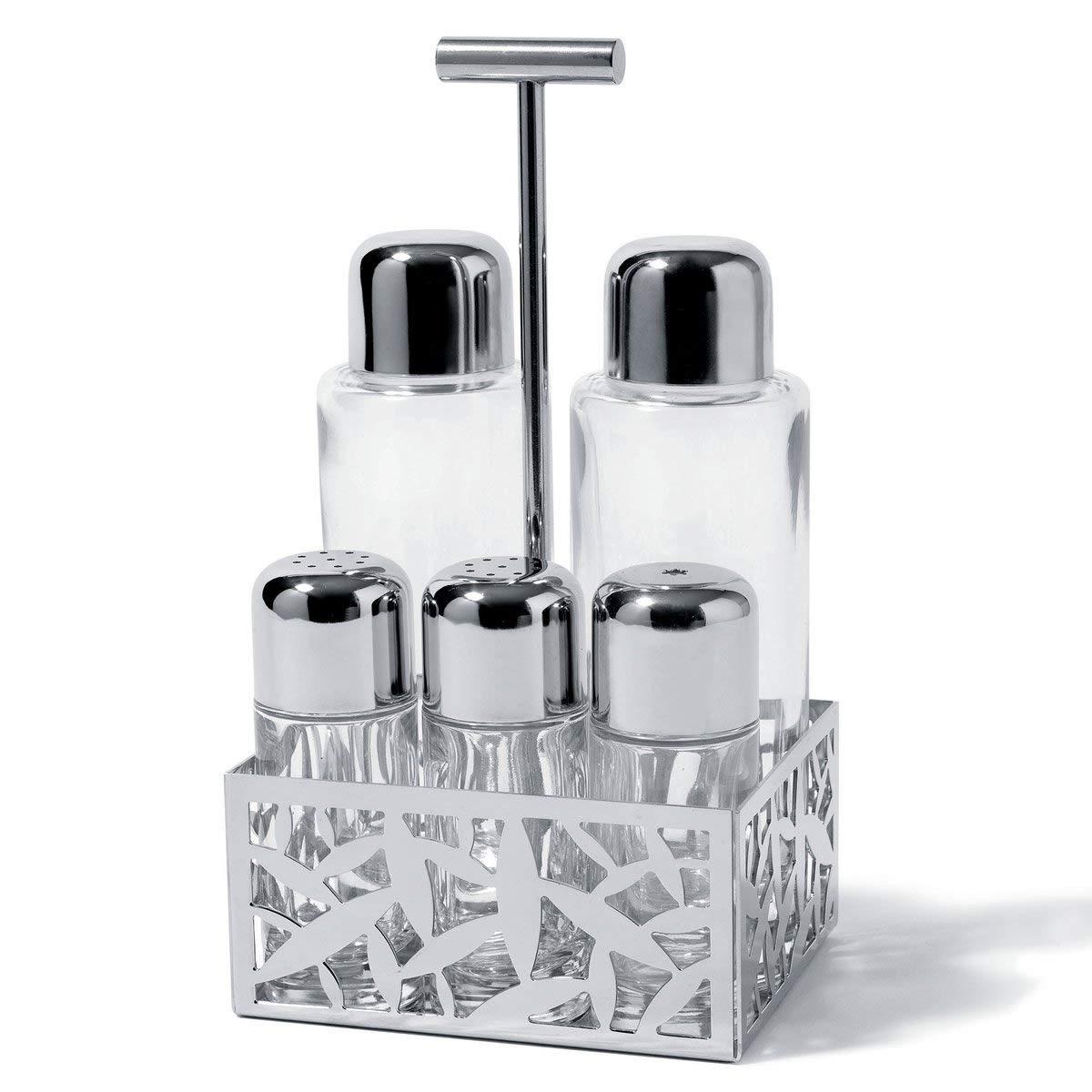 Alessi MSA16'' Pcs''''Cactus'' 5 Piece Condiment Set, Silver