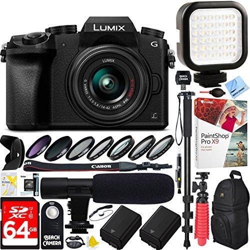 (Panasonic LUMIX G7 Interchangeable Lens 4K Ultra HD Black DSLM Camera with 14-42mm Lens - 64GB SDXC Dual Battery & Shotgun Mic Pro Video Bundle (Lumix G Vario 14-42mm Lens Pro Video Kit))