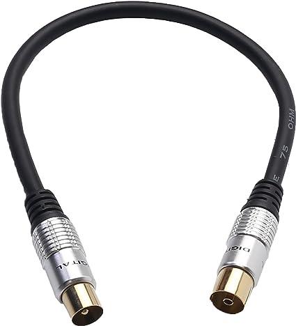 devinal conector para TV Tipo F Coaxial Cable, chapado en oro 9,5 mm hembra a macho conector Coaxial TV Coaxial Cable de la antena de satélite, ...