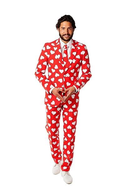 Mr Lover traje rojo y blanco con corazones para hombre ...