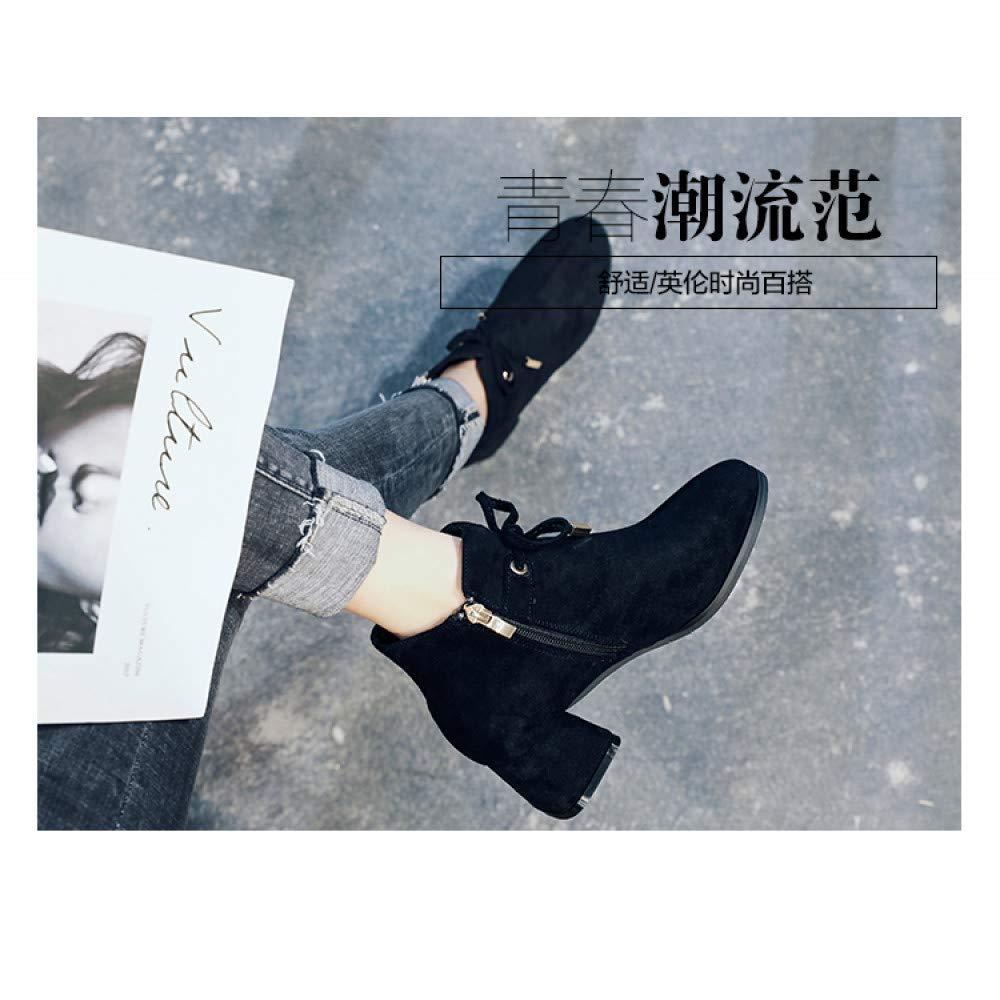 Qingchunhuangtang Qingchunhuangtang Qingchunhuangtang Mid-Female Stiefel Herbst Bogen vielseitige nackte Stiefel Einzel Stiefel Dicke Dicke Kurze Stiefel Frauen 27b854
