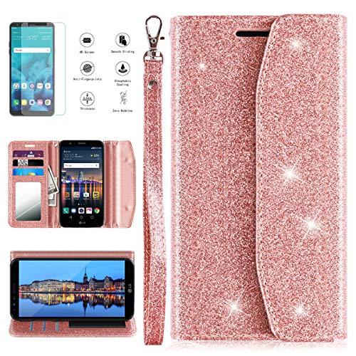 LG Stylo 3 Case, LG Stylo 3 Plus/LG Stylus 3/LG LS777 Wallet Case w/HD Screen Protector, Glitter PU Leather Flip Case Cover w/Kickstand, Card Slots, Mirror Women/Girls LG Stylo 3, Rose Gold