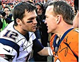 Tom Brady - Peyton Manning Patriots & Colts Autographed Signed 8 x 10 Photo - COA - NRMT/MINT Condition