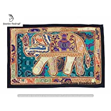 Indian Handmade Vintage Elephant Patchwork Home Decor Wall Art Wall Hanging Tapestry Table Runner Table Cloth Hand Embroidered Tapestry Old Vintage Window Valances