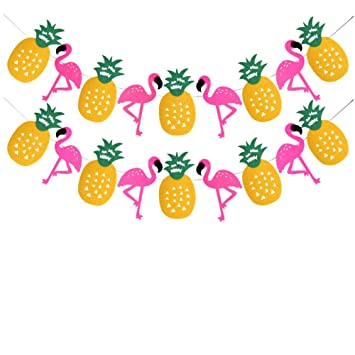 Tropical Party Decorations Banner Flamingo Pineapple For Luau Hawaiian Summer Supplies