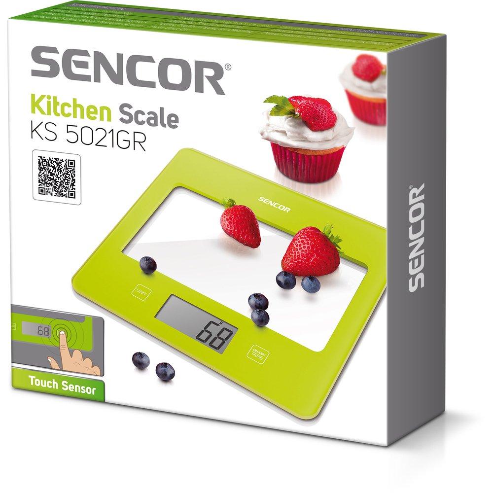 SENCOR 41000752 SKS 5021GR Balance de Cuisine avec Surface en Verre Verte