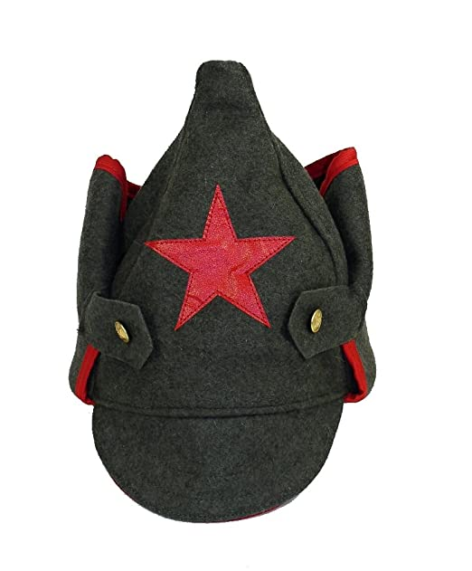 1665a2e6301 Amazon.com  Red Army Budenovka Hat W Red Star  Clothing