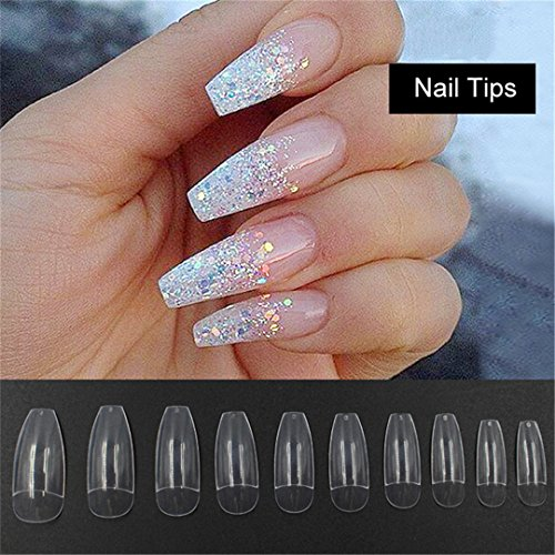 500PCS Long Ballerina Half Nail Tips Clear Coffin False Nails ABS Artificial DIY False Fake UV Gel Nail Art Tips by JZJ