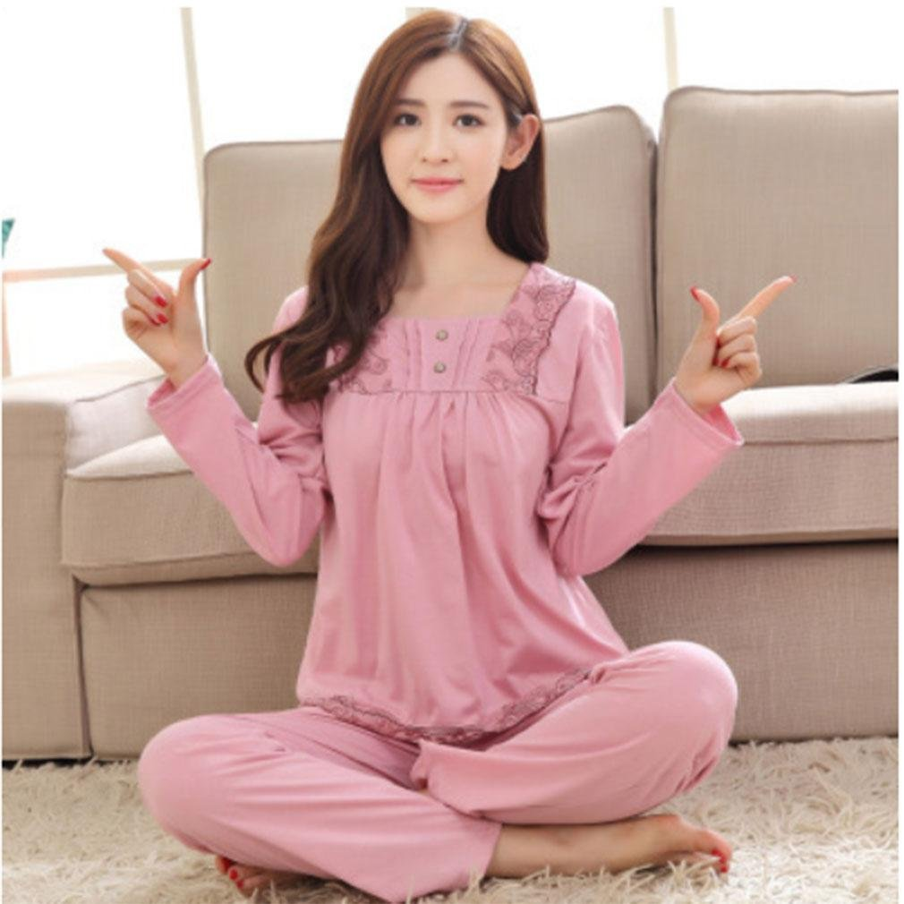 MOXIN Ladies Pajamas Autumn And Winter Cotton Long Sleeves Home Service Comfortable Warmth , xxxl , A