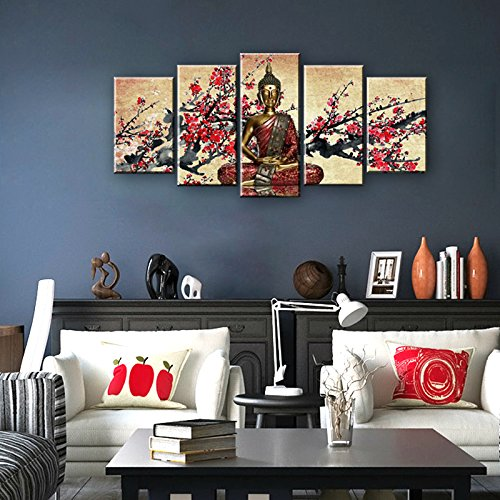 Formarkor Art Cyber Monday Deal Christmas Gift Markorart-kx00339,5panel Canvas Art Buddha the Plum Blossom Picture Wall Panel Home Decorative Canvas Prints on Canvas