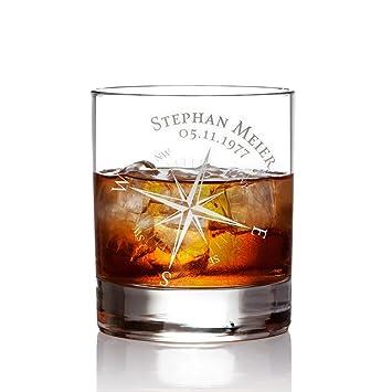 AMAVEL Whiskyglas mit Gravur Kompass – Personalisiert mit [Namen ...