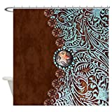 CafePress Western Turquoise Tooled Leather Decorative Fabric Shower Curtain (69