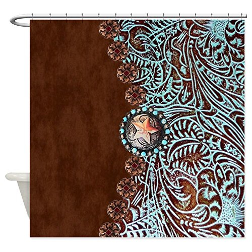 - CafePress Western Turquoise Tooled Leather Decorative Fabric Shower Curtain (69