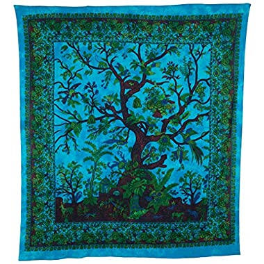 Luna Bazaar Boho Tree of Life Tapestry, Wall Hanging, and Bedspread,85 W x 95 L (Large, 7 X 8 Feet, Blue and Green, 100% Cotton, Fair Trade Certified)