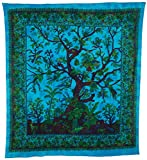 Luna Bazaar Boho Tree of Life Tapestry, Wall Hanging, and Bedspread (Large, 7 X 8 Feet, Blue and Green, 100% Cotton, Fair Trade Certified)