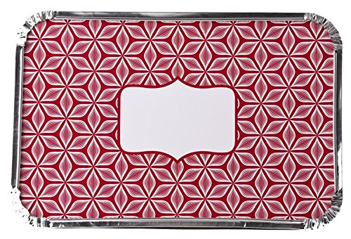Simply Baked Large Baking and Take-out Pan, Disposable, Oven & Freezer Safe Foil Pan with Paper Lid (pack of 4), Scarlet Starburst Lid, 12″ x 8″, 66 oz. capacity