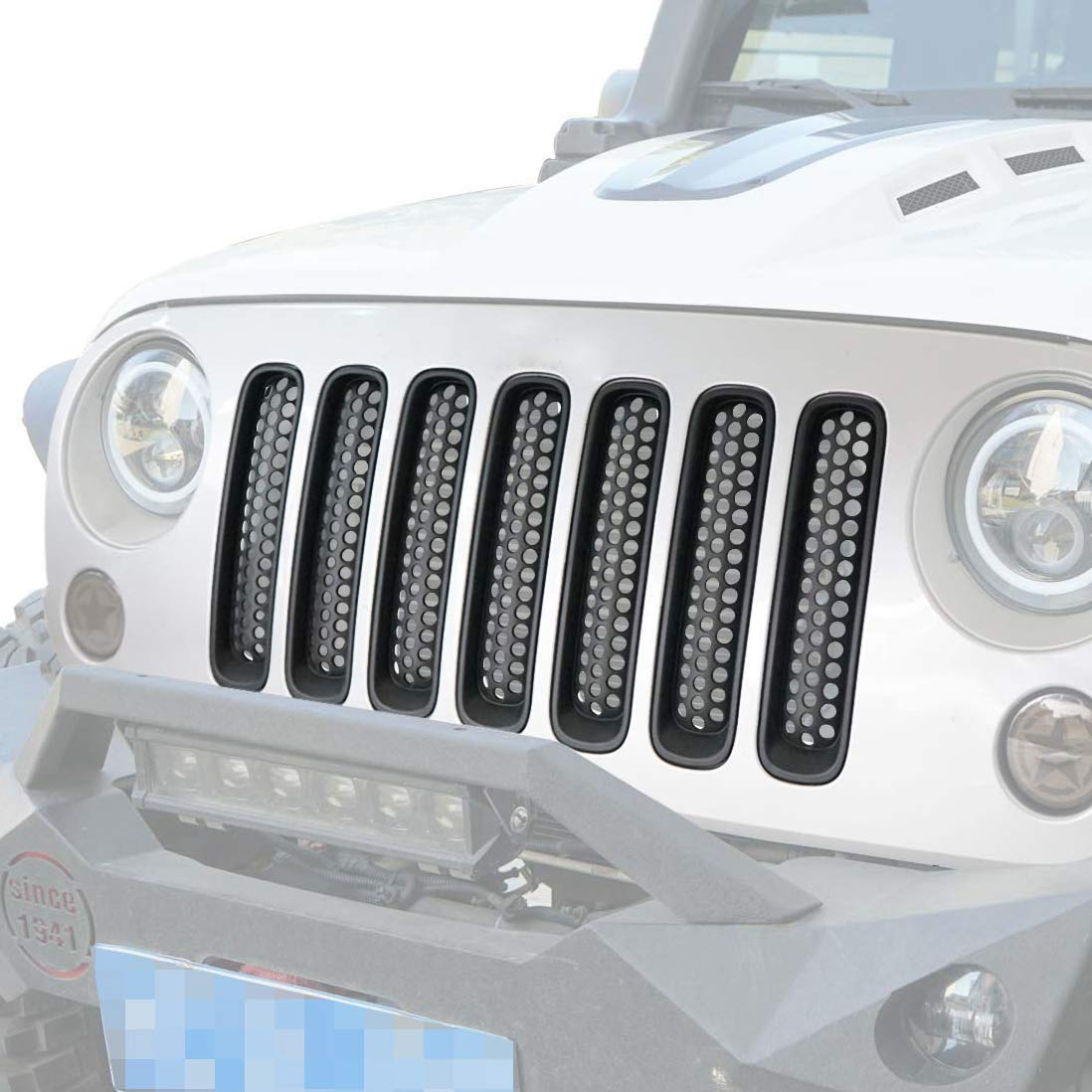 Hooke Road Matte Black Clip-in Mesh Grille Inserts Kit for Wrangler JK Square Grill Slots(Incompatible with Round Grill Slots)
