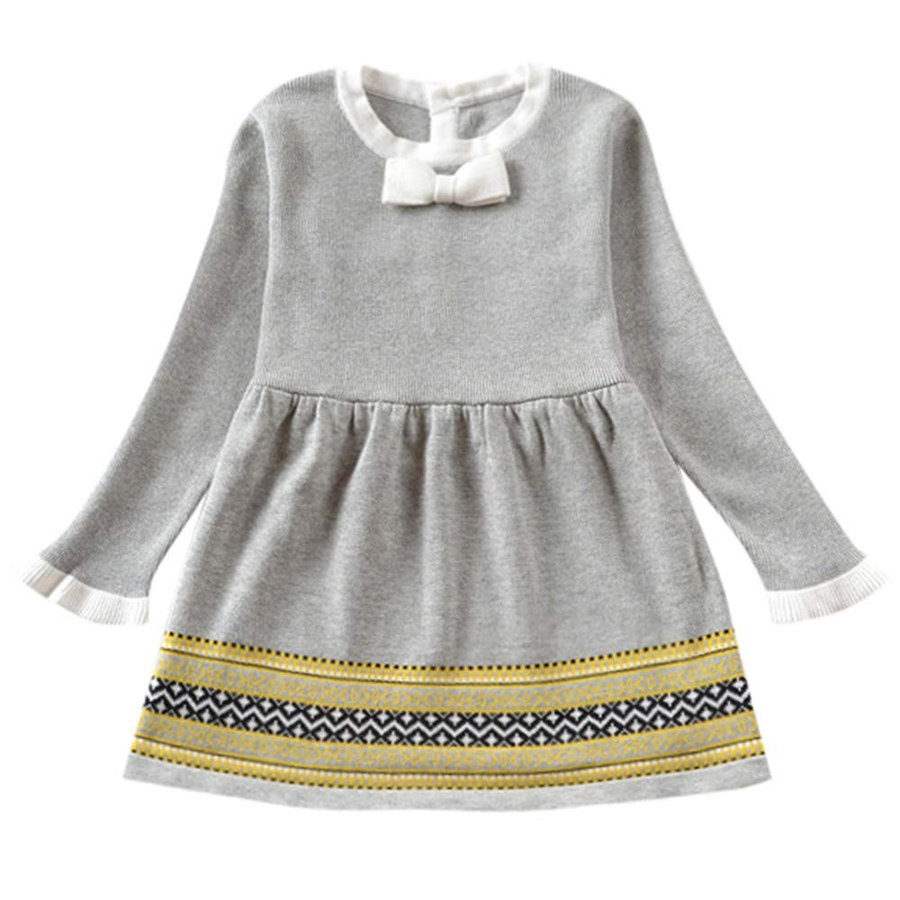 ASTV Baby Girl Clothes Knitted Sweater Dress Winter Pullovers Crochet Dress