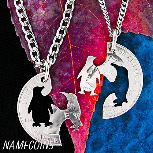 Penguin Couple Necklace, Hand cut coin Jewelry, By NameCoins