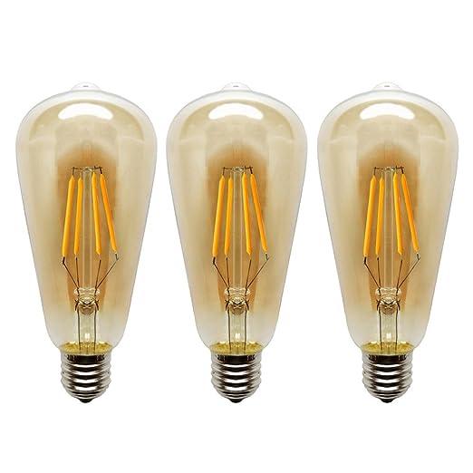 KJLARS ST64 E27 4W Antiguo de Edison Estilo Bombilla Filamento LED - 2300K 400 Lúmenes Blanco