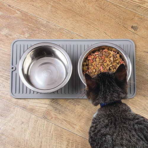 mDesign Premium Quality Pet Food and Water Bowl Feeding Mat for Cats and Kittens - Waterproof Non-Slip Durable Silicone Placemat - Food Safe, Non-Toxic - Pack of 2, Gray by mDesign (Image #1)