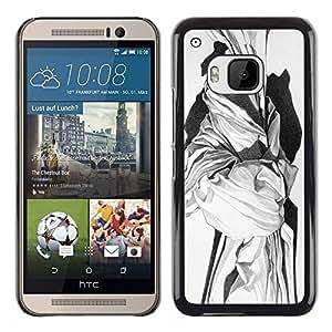 Caucho caso de Shell duro de la cubierta de accesorios de protección BY RAYDREAMMM - HTC One M9 - White Black Art History
