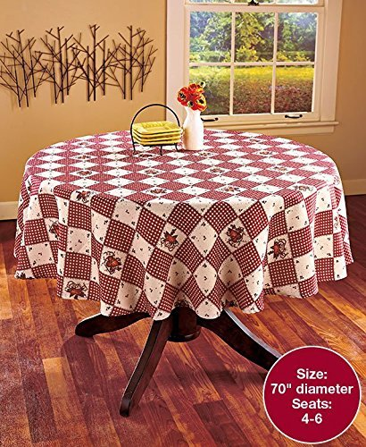 "KNL Store Linda Spivey Kitchen Decor Table Cloth Linens Primitive Country Hearts Stars Table-Cloth or Napkins Kitchen Collection, Round, 70"" L"