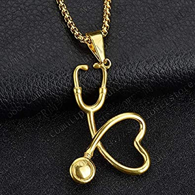 TIDOO Jewelry 18K Real Gold Plated Hip Hop Necklace Stethoscope Pendant
