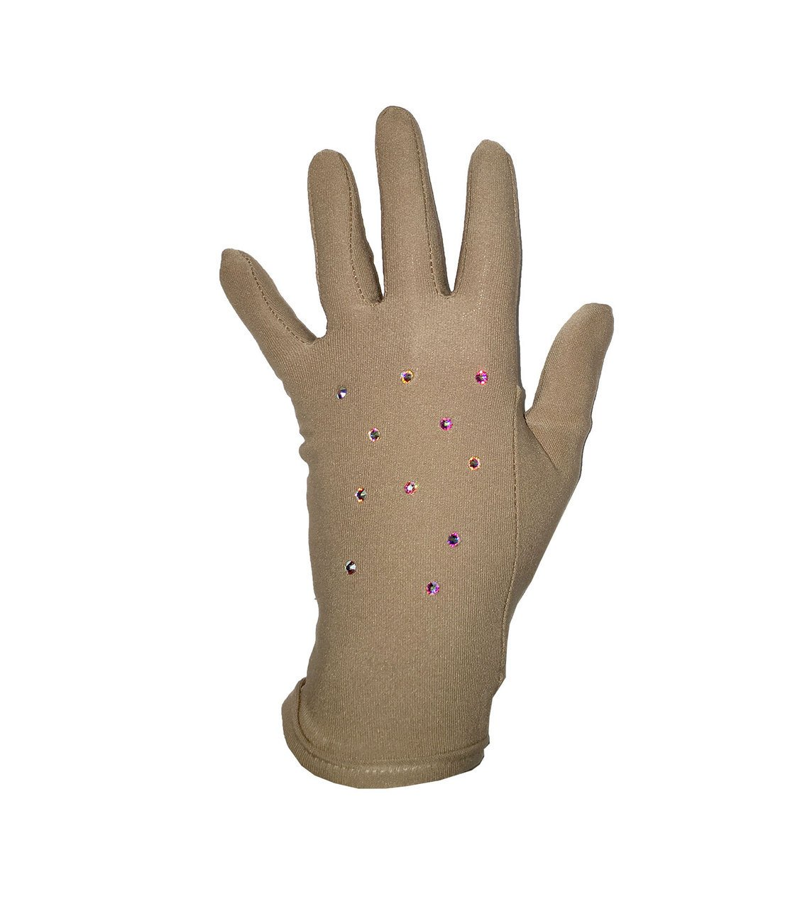 Figure Skating Gloves For Competition and Practice with Gel Wrist Protection and Swarovski Crystals (Small, Beige) by Kami-So
