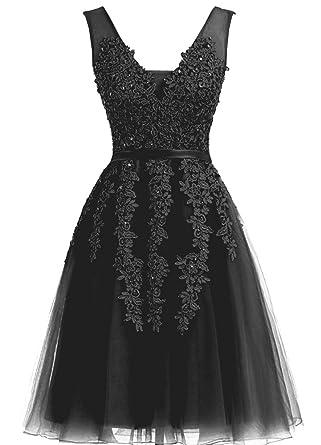 c5829e8a753b Annadress Women's Sleeveless Homecoming Dresses Short Net Bridesmaid Dresses  Appliques Evening Cocktail Gowns Black 2