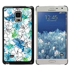 Be Good Phone Accessory // Dura Cáscara cubierta Protectora Caso Carcasa Funda de Protección para Samsung Galaxy Mega 5.8 9150 9152 // Flowers White Blue Drawing Hand