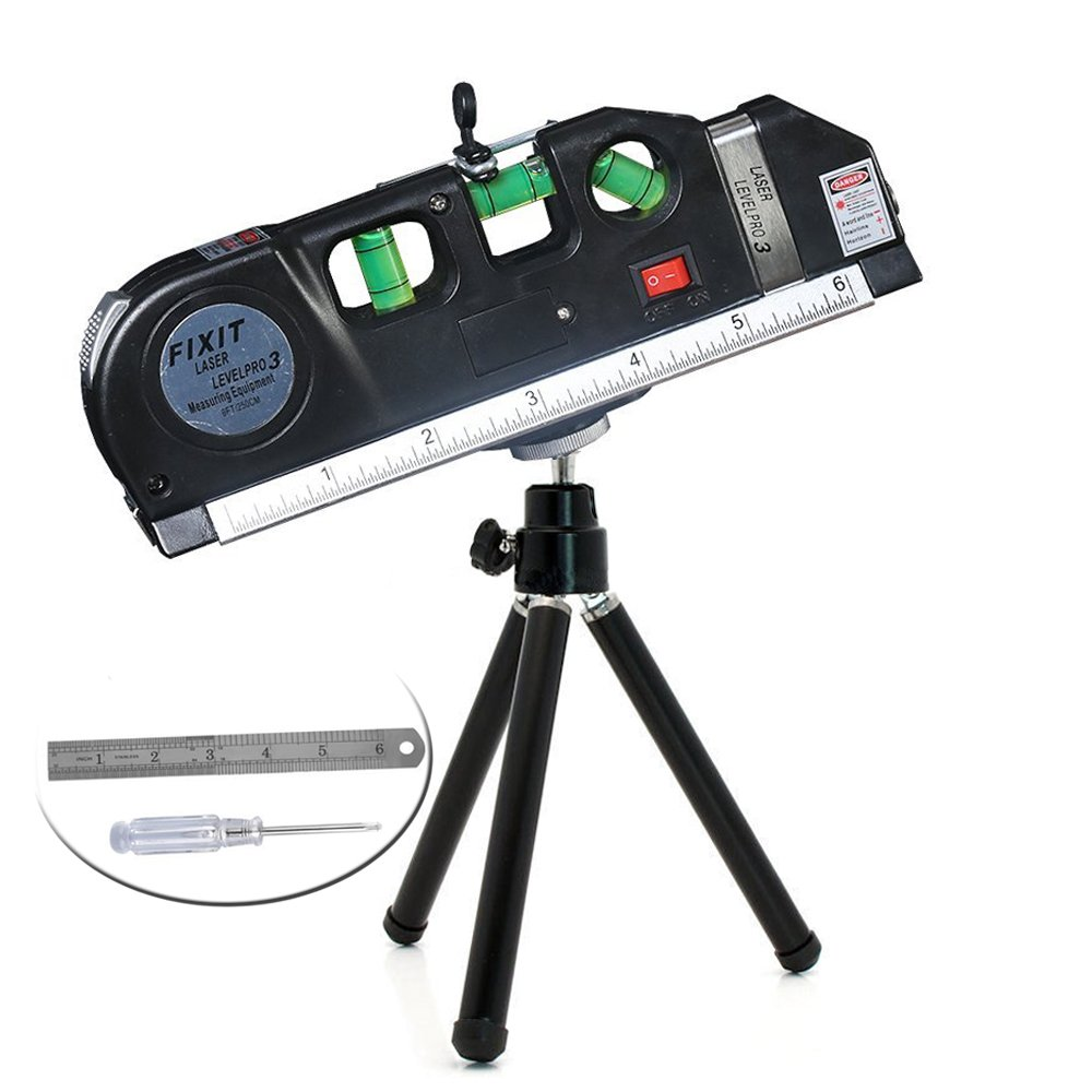 Y-Axis Multi-purpose Laser Level Measurement with Black Tripod Stand, 8ft Tape Measurement 3.5mV