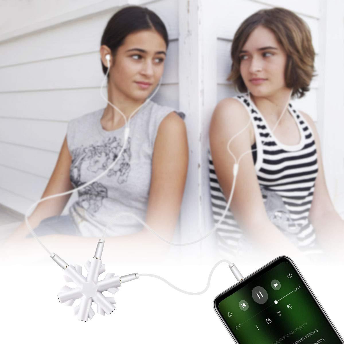1 to 5 Audio Splitter, AMIGIK 5-Way Multi Aux Headphone Splitter Connector, 3.5mm Jack