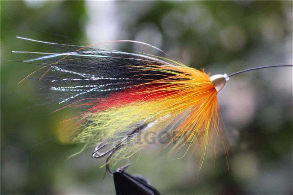 24pz giallo e nero Feather cone Head Tube salmone e trota di mare Fly esche da pesca