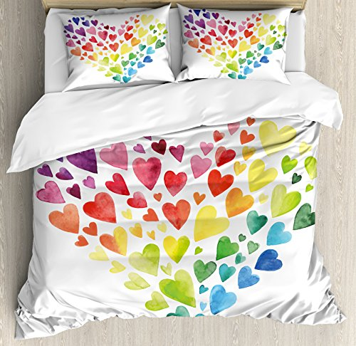Ambesonne Rainbow Duvet Cover Set Queen Size, Multicolored Hearts forming a Giant Colorful Rainbow Inspired Heart Love Artwork, Decorative 3 Piece Bedding Set with 2 Pillow Shams, Multicolor by Ambesonne (Image #2)'