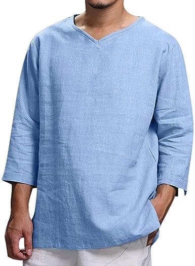 RYTEJFES Camiseta Lino Hombre Manga Tres Cuartos Round Cuello Tops Casual Blusa Suelto Camisa Tallas Grandes Transpirable Color Puro Ropa de Deporte Catión para Casa Vacaciones Trekking Trabajo: Amazon.es: Ropa y accesorios