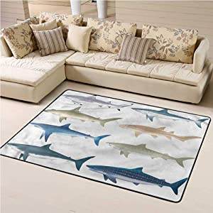 Rugs Shark, Types of Ocean Sea Mammals Shag Throw Rug with Water Resistant Rubber Back Anti-Slip 3 x 5 Feet