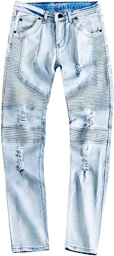 Hombres Denim Vaqueros Ice Destruida Pantalones Moda Jeans Cintos Vaqueros Mexicanos Long Trousers Jeans Pants Yiylunneo Amazon Es Ropa Y Accesorios