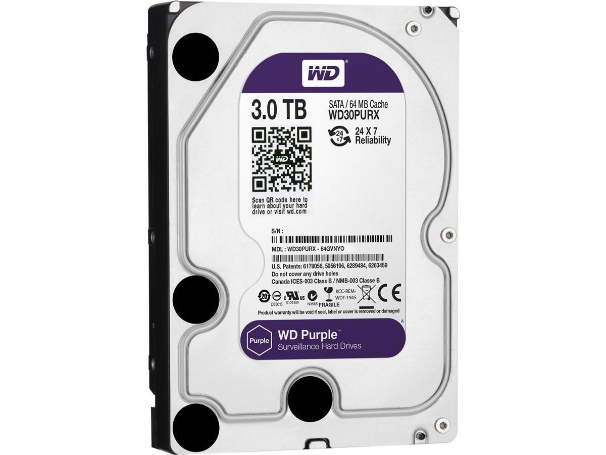 Western Digital Purple 3TB Surveillance Hard Disk Drive - 5400 RPM Class SATA 6 Gb/s 64MB Cache 3.5 Inch - WD30PURX [Old Version] by Western Digital