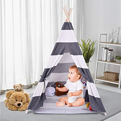 FIN86 Kids Teepee Tent, Classic Play Tent for Child, Foldable Playhouse for Indoor or Outdoor Play, Cotton Canvas Children Tents for Girl and Boy (Gray): Sports & Outdoors