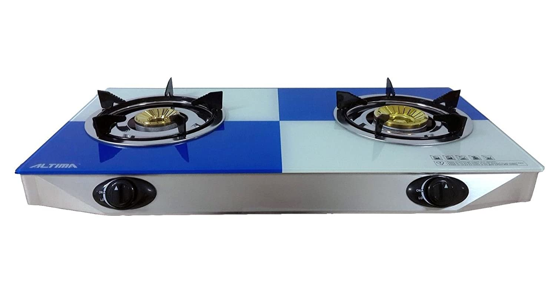 Table top Gas Stove 2 Burner Hob Freestanding Glass Indoor Piezo ...