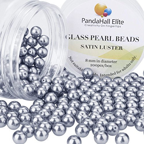PH PandaHall About 200 Pcs 8mm iny Satin Luster Glass Pearl Bead Round Loose Spacer Beads for Jewelry Making - Light Pearls Glass
